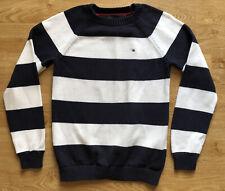Tommy Hilfiger Childrens Kids Blue White Striped Jumper XL Cotton Crew Neck