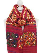 Pink Embroidered Scarf Plastic Mirrors Boho Women 100% Cotton Scarves Dupatta