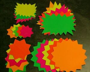 500 Mix - A4 Neon Fluorescent Assorted Star Flash Card