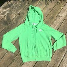 PINK Victorias Secret Hoodie Green Metallic Dog 86 sz M Front Zip Sweatshirt