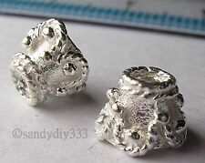 4x STERLING SILVER BRIGHT FLOWER END CAP CONE SPACER BEADS #075