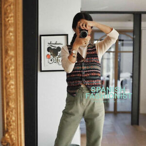 Zara Jacquard Knit Waistcoat Vest Jumper With Gem Buttons, Size L  Bloggers Fave