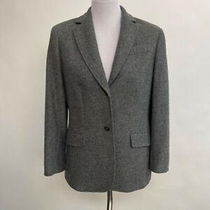 Lands' End Women's Blazer Size 10 Gray Wool Mohair Blend Lined