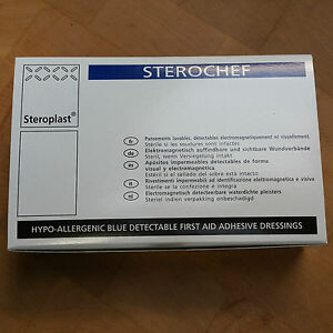 Food Processing Steroplast Sterochef 100 Assorted Metal Detectable Blue Plasters