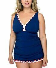 Gottex Profil Einteilig Schwimmen Anzug Blau Größe 24W Plus Neu PL247