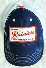 TACOMA RAINIERS MiLB Logo Patch Hat Strapback Mesh Cap Navy Blue White EUC