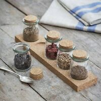 Set of 5 Small Cork Spice Storage Jars With Rack Set Includes 5 Glass Herb Jars