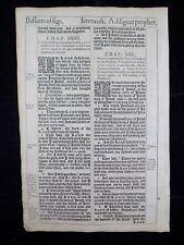 1611 KING JAMES BIBLE LEAF PAGE *BOOK OF JEREMIAH 23:16-25:8 *BASKETS OF FIGS *
