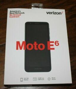 "Brand New Black Verizon Motorola moto E6 16GB 5.5"" Screen Prepaid Cell Phone"