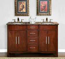 "58"" Granite Stone Countertop Double Bathroom White Sink Vanity Cabinet 221BB"