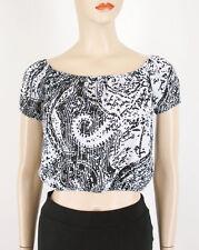 AQUA Sketch Paisley Off The Shoulder Top Black White XS $58 8557 BM7