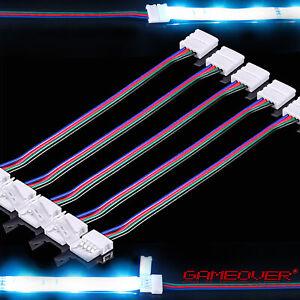 🔴 5x RGB LED Stripe Schnell Verbinder 5cm Kabel Adapter 4 Pin Stecker Lichtband