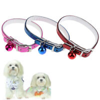 Cat / Dog Collar PU Leather Adjustable With Bling Bell Pet Kitten Safety Coll JC
