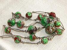 VINTAGE FOIL Collana di perle di vetro colore verde