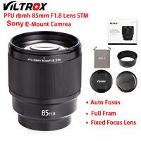 New Viltrox 85MM F1.8 STM E-mount Auto Focus Lens AF Full Frame for Sony Camera
