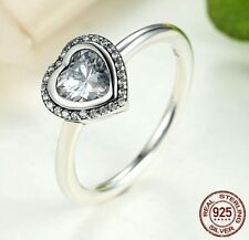 Size 7 Love Sparkling CZ Halo Heart .925 Sterling Silver Ring Promise Engagement