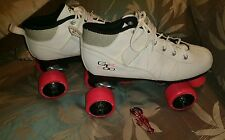 Pacer Mach-8 White Pink Skates - Mach Gtx500 Quad Roller Skates - Mens8 /Ladies9