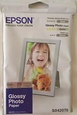 "1x Pack Genuine Epson Glossy Photo Paper 4""x 6"" / 102 x 152 mm 20 Sheet Pack"
