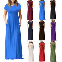 Womens Oversize Summer Loose Short Sleeve Soild Casual Loose Long Maxi Dress P