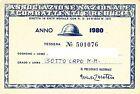 TESSERA - ASSOCIAZIONE NAZIONALE COMBATTENTI E REDUCI - ANNO 1980