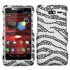 For Motorola Droid Razr M XT907 Crystal Diamond BLING Case Phone Cover Zebra