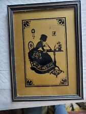 Silhouette Black and Gold Victorian woman Writing a Letter
