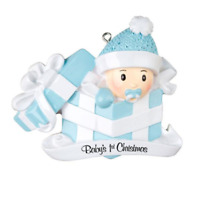Baby Boy In Blue Gift Box Personalized Christmas Ornament-Baby's First Christmas