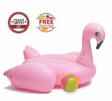 BiggerKids Giant Pink Flamingo Inflatable Pool Float w FREE Beach Ball