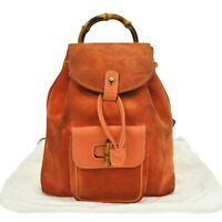 tm3227 Authentic GUCCI Suede Leather Orange Bamboo GG Backpack Bag Vintage Italy