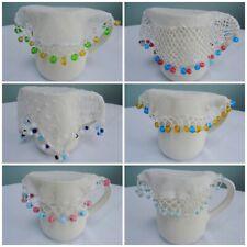 Antique Jug Cover Vintage Crochet Lace Net Milk Cream Sugar Bowl Beaded Bead 1c