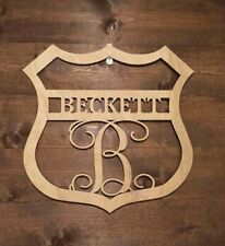 "24"" Wood Police Badge Monogram Cutout Shape Unfinished"