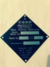 Ford Capri Cónsul, popular 100e Placa de Etiqueta de identificación Barco Antiguo