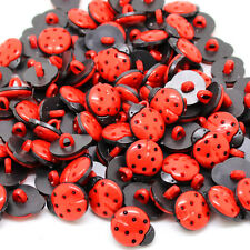 Pack of 50 - Red & Black Ladybird - Craft Ladybug Buttons 15mm