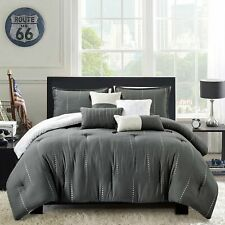 7 Piece Hgmart Bedding Comforter Set Luxury Bed In A Bag ,King Size, Gray,New