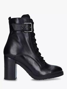 "Carvela ""Sidewalk"" Black Leather Block Heel Ankle Boots UK 3 RRP £189"