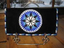 Native American OJIBWE Handmade Black Velvet BLUE BEADED Checkbook Cover UNUSED