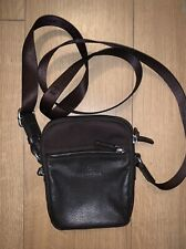 Hexagona Mens Small Brown Leather Crossbody Bag