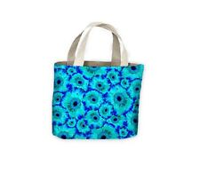 Blue Flowers Pattern Tote Shopping Bag For Life
