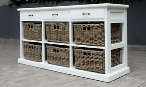 Hamptons style storage Sideboard Cupboard Chest of 6 rattan drawers mahogany