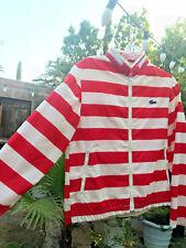 Vint. 80's Candy Cane stripe red&wht windbreaker! aligator Izod Xs hidden Hood!