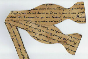 American Bow tie / Preamble to the USA Constitution on Tan / Self-tie Bow tie