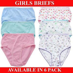 Girls Briefs Underwear Kids Knickers 100% Cotton 6 Pack Age 2-13 Years