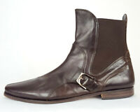 D&G DOLCE GABBANA Men Chelsea Pointy Boots Buckle Union Jack Brown Leather 43 10