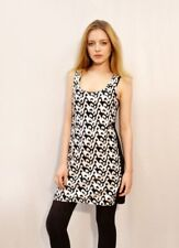Lady black and white vintage sequin midi dress vest top cocktail party fashion
