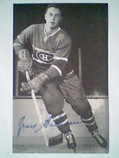 JEAN BELIVEAU 60s MONTREAL CANADIENS BLUE GLOSSY TOP OF STICK SIGNATURE POSTCARD