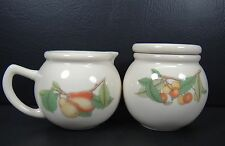 Epoch Wholesome Sugar Bowl & Creamer Pitcher Fruit Grapes Cherries Pears