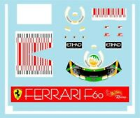 F1 DECALS MUSEUM COLLECTION D521 1/18 FOR FERRARI F60 BAR CODE FISICHELLA DECAL