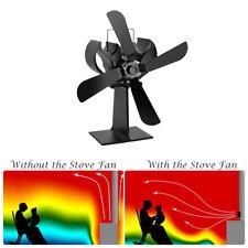 Heat Powered 4 Blade Stove Fan Log Fireplace Wood Burner Eco Ultra Quiet Blower