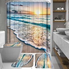 Bathroom Shower Curtain Extra Long+ Non-Slip Rug+ Toilet Lid Cover +Bath Mat Set