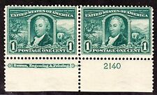 US 323 1c Louisiana Purchase Mint Bottom MI Plate Pair #2140 F-VF OG NH SCV $170